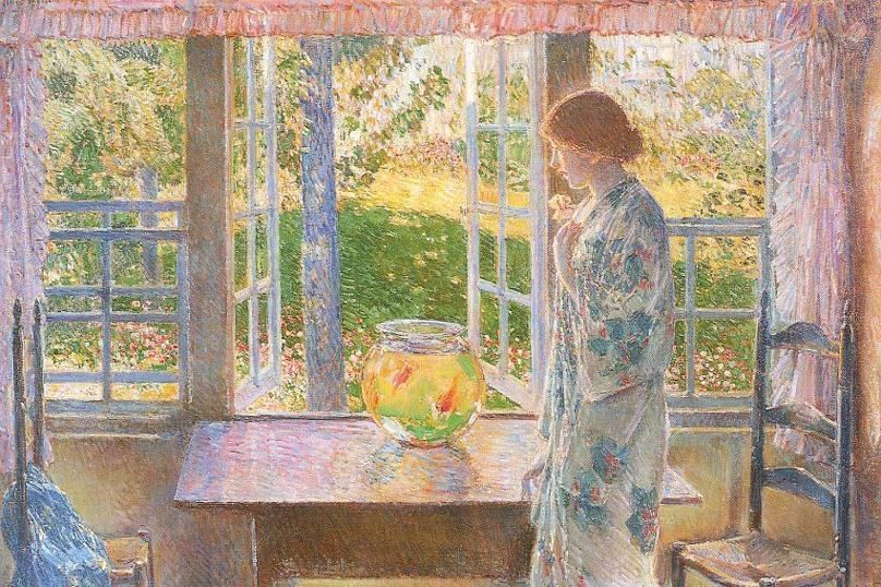 childe hassam paintings | childe hassam Paintings - childe hassam The Goldfish Window Painting