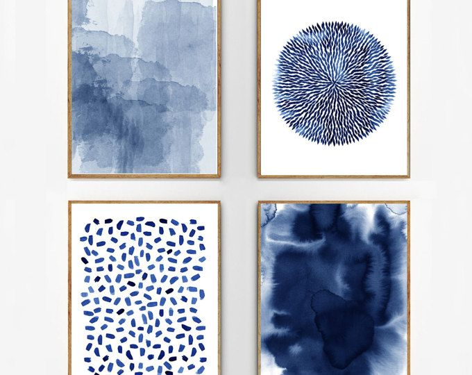 Moderne Wandbilder Blumen Abstract Watercolor Set Indigo Blue Wall Art Large Navy