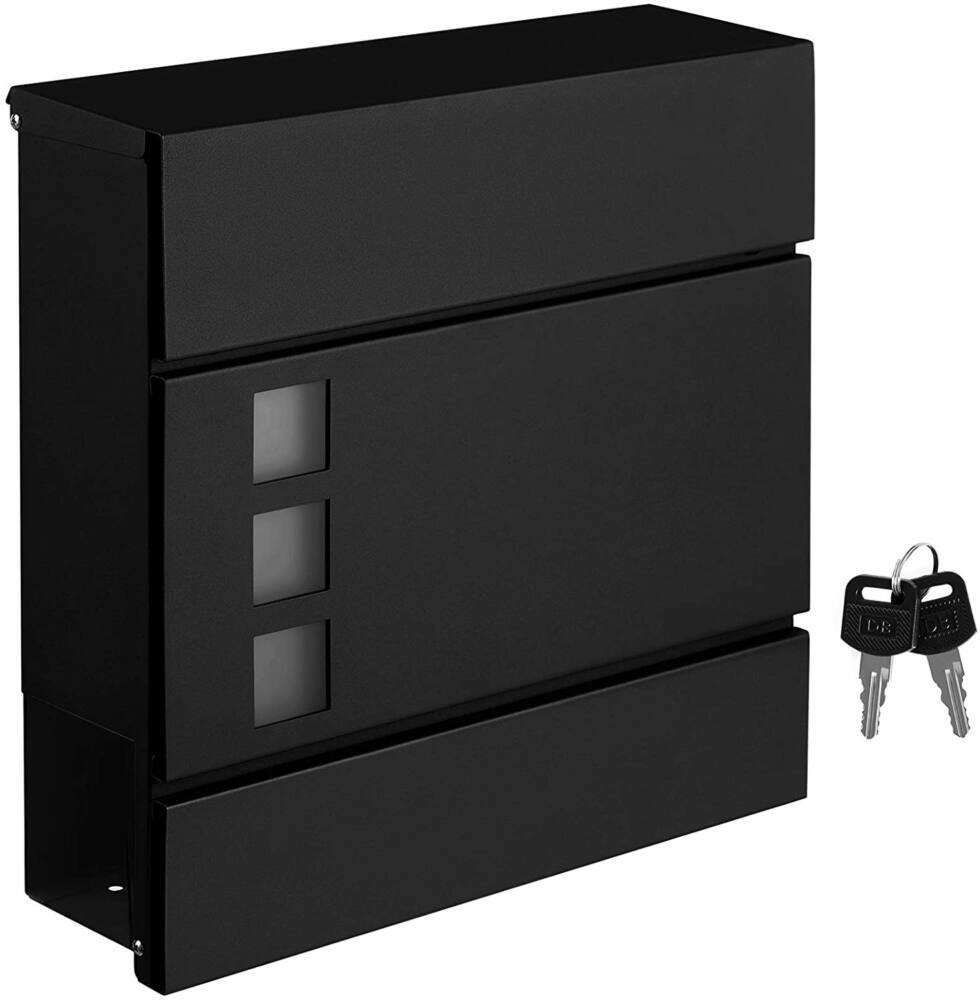 SONGMICS Mailbox with newspaper holder, 37 x 10.5 x 37 cm, black