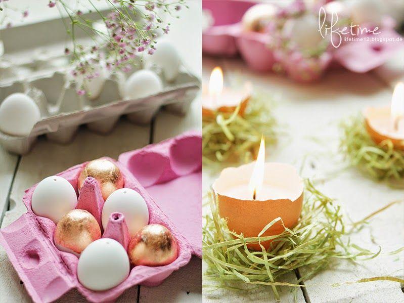 Roségold Ostereier mit Blumenkranz, Osterteelichter, easter egg DIY