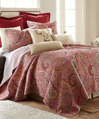 Another Great Find On Zulily Red Gold Painted Paisley Quilt