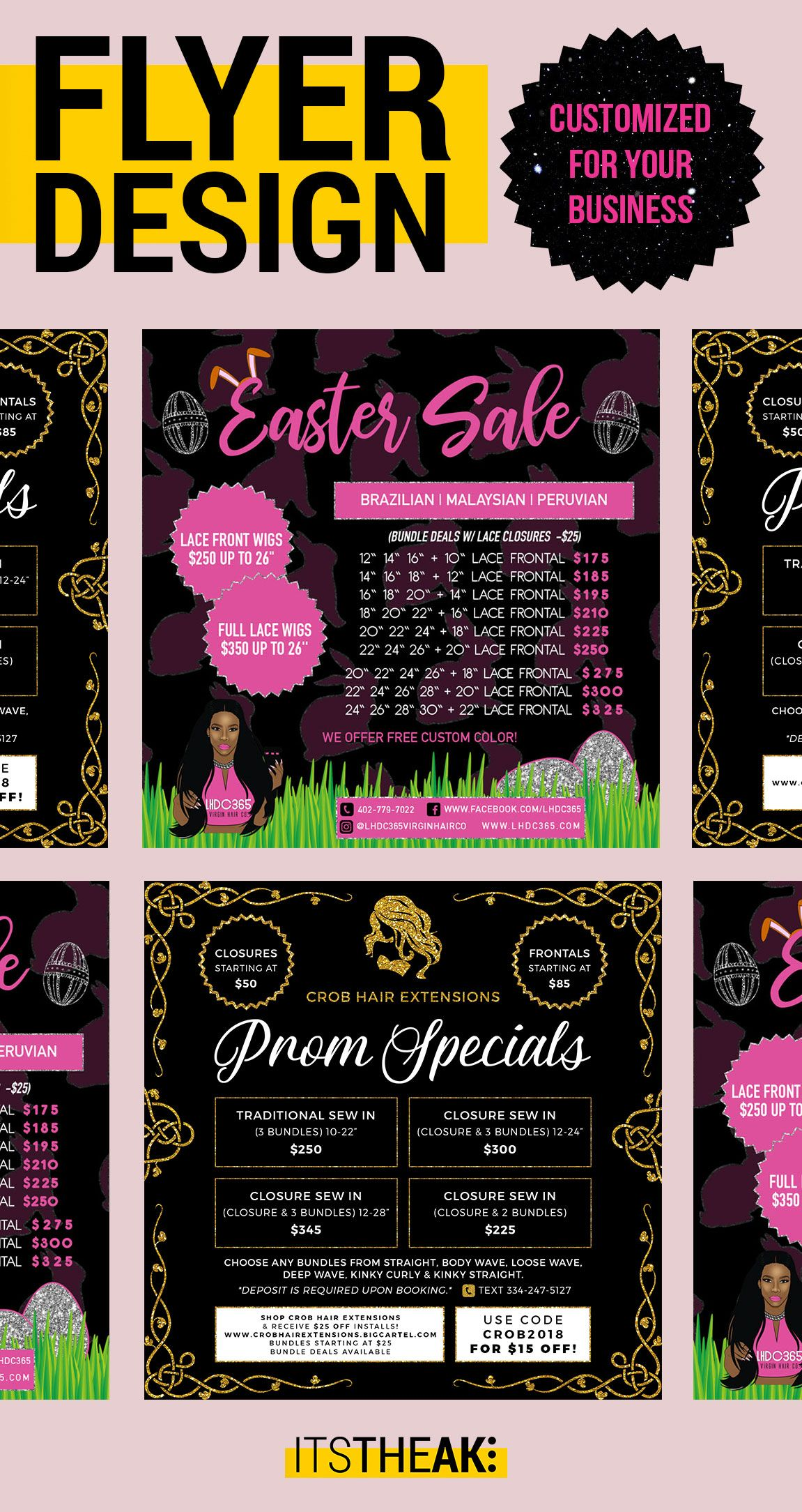 custom flyer designs hair extension business bundle deals bundles
