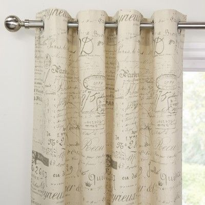 Script Eyelet Panel Natural Curtains Natural Curtains Room Redo