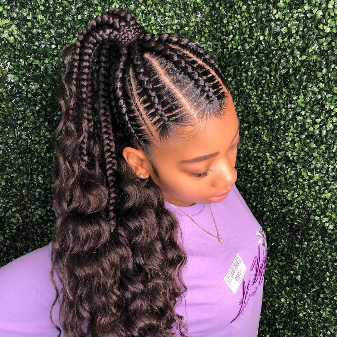 Stitchbraids Going Into A Ponytail �� Get This Look
