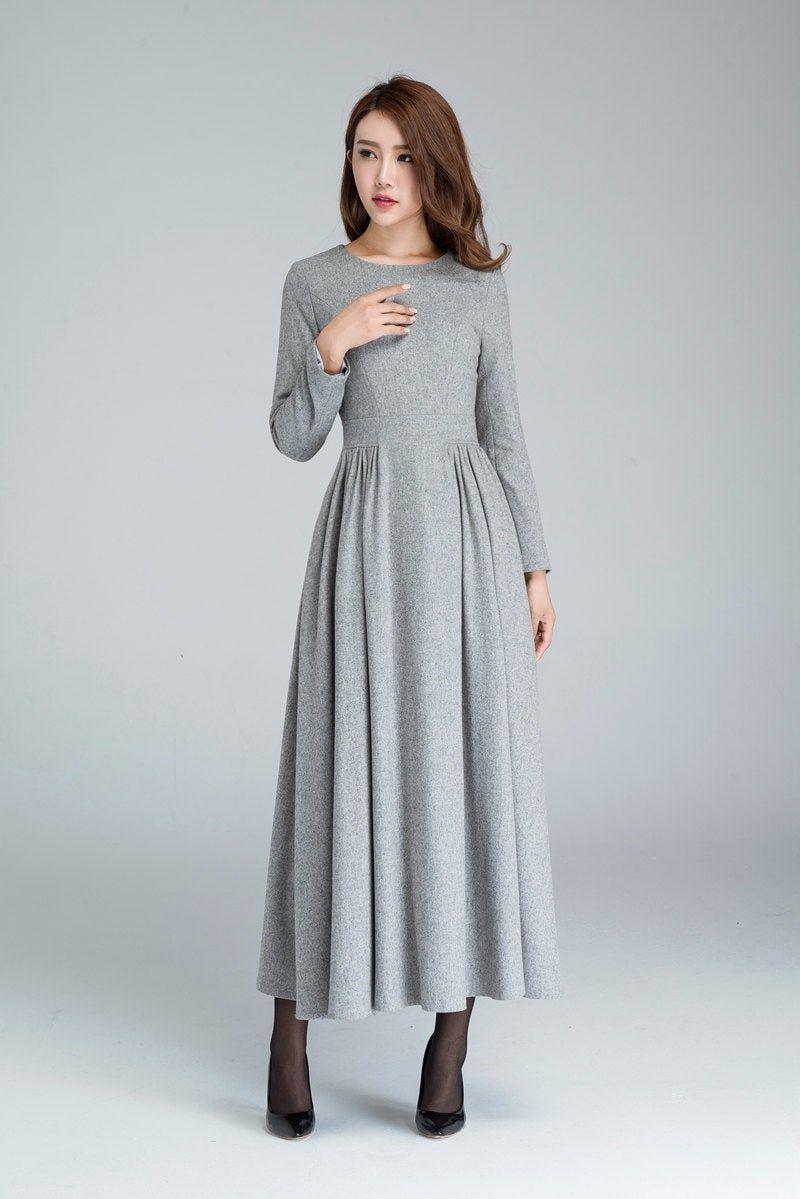 Graue Wolle Kleid, plissierteKleid, langes Kleid, Frauen ...