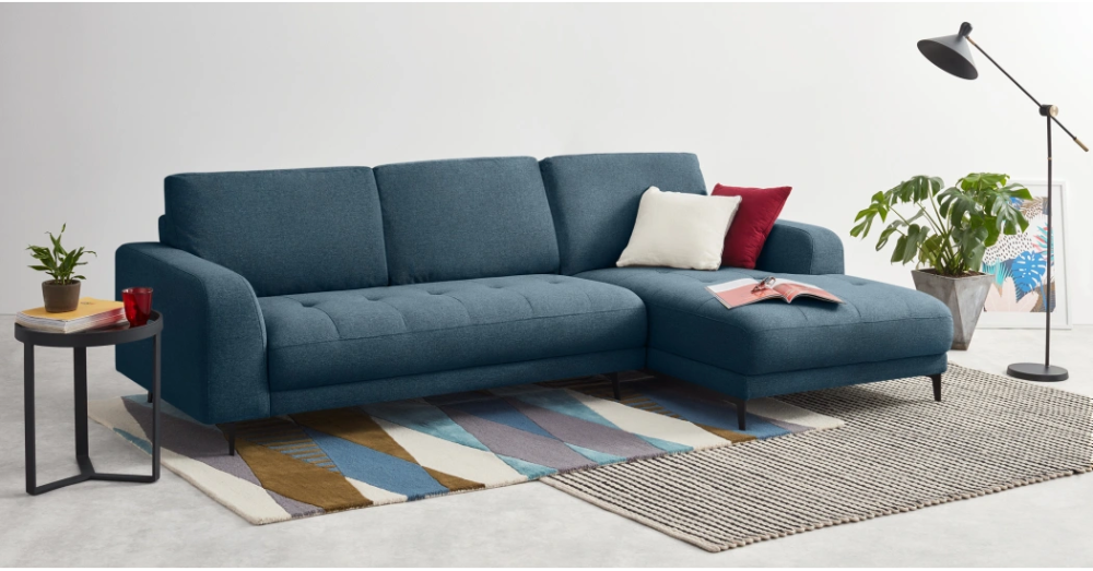 Luciano Right Hand Facing Chaise End Corner Sofa Orleans Blue Corner Sofa Grey Corner Sofa Sofa