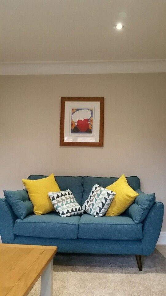 Dfs Zinc Sofa With Mustard Cushions