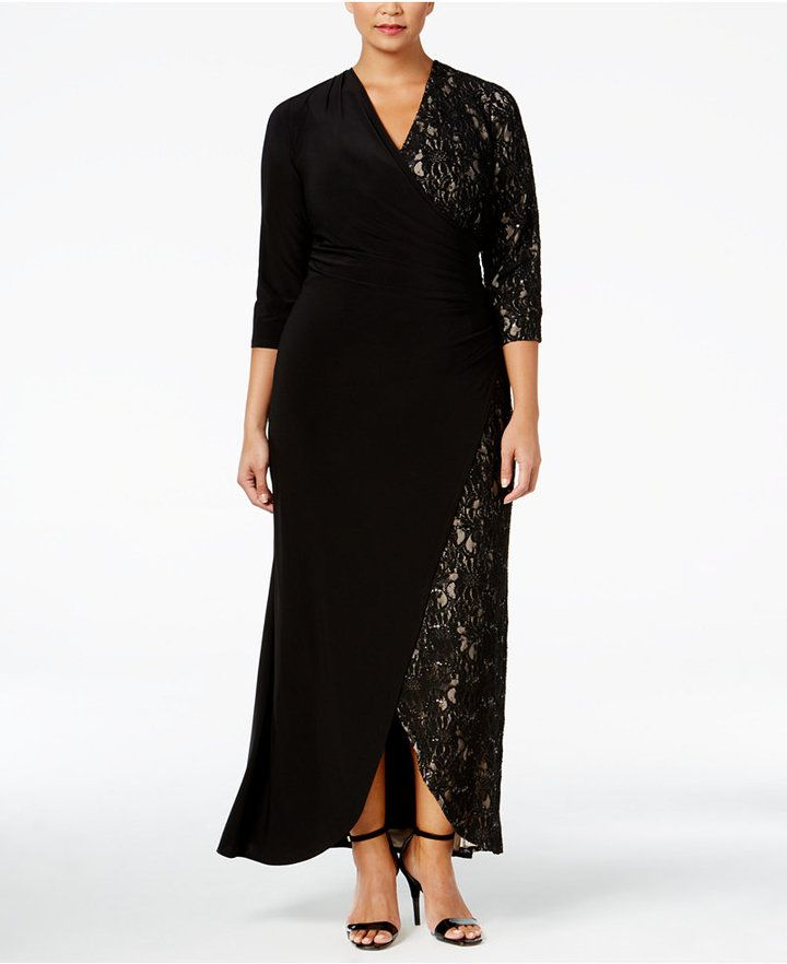 R & M Richards Plus Size Lace-Contrast Faux-Wrap Gown | plus size ...