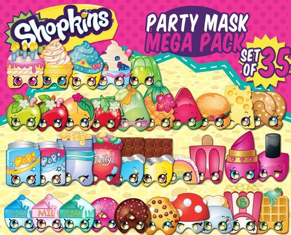 35 Shopkins Party Theme Digital Birthday Mask Favors Shopkins Party Shopkins Birthday Shopkins Bday