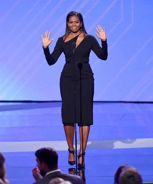 Michelle Obama Photos Photos - Former First Lady Michelle Obama speaks onstage at The 2017 ESPYS at Microsoft Theater on July 12, 2017 in Los Angeles, California. - The 2017 ESPYS - Show