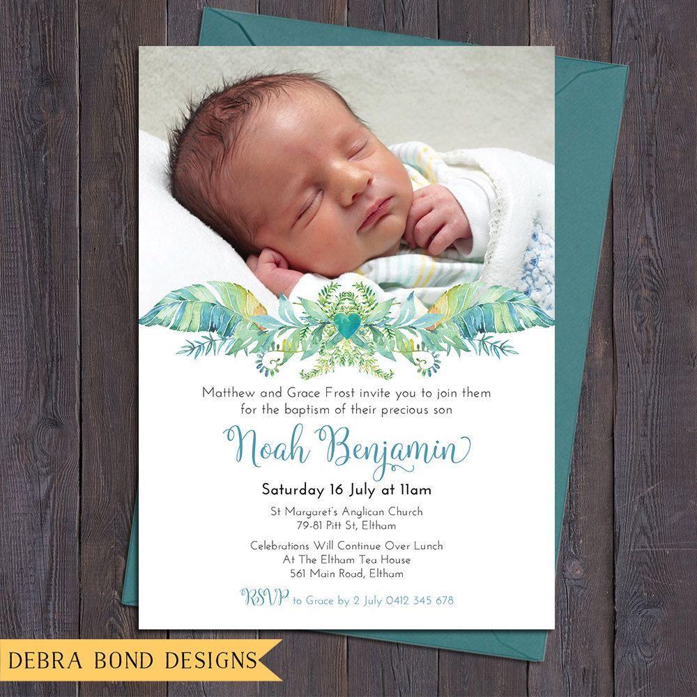 Christening invitation baptism invitation naming invitation boy