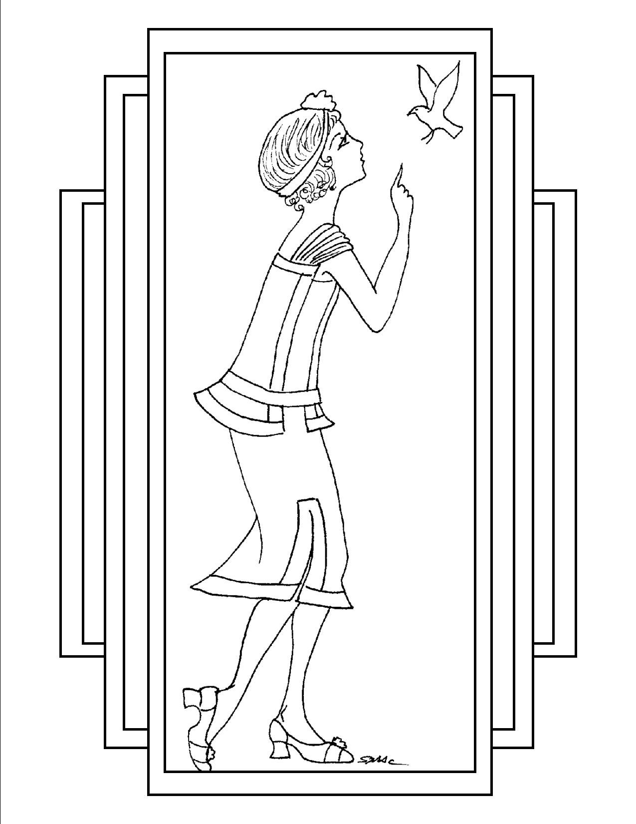 S.Mac\'s Art Deco Coloring Page, Deco Gal with Bird | Coloring fun ...