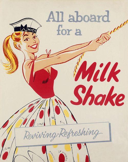All Aboard For A Nautical Themed Milkshake Ad Vintage Food Nautical Milkshake Ad Summer Retro Poster Vintage Illustration Vintage Advertisements