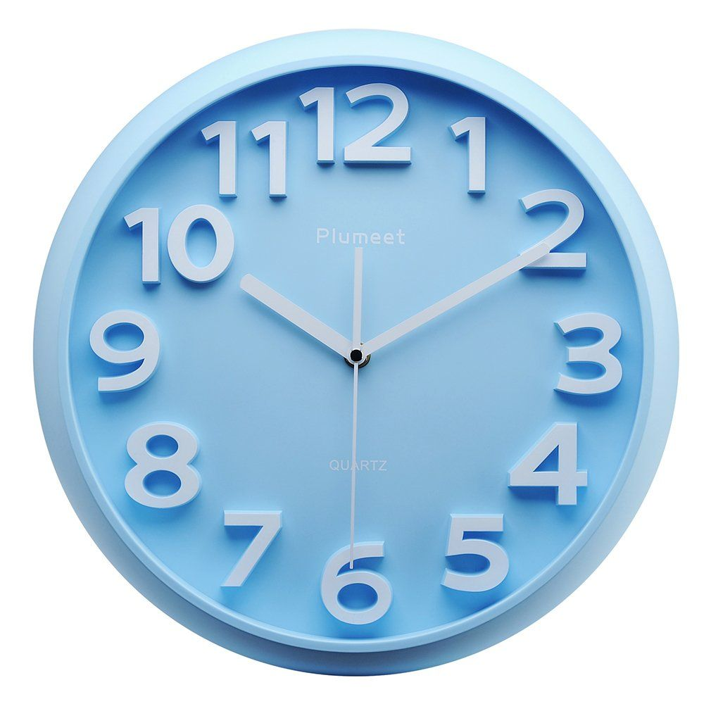 Kids Wall Clock Plumeet 13 Silent Non Ticking Quartz Decorative