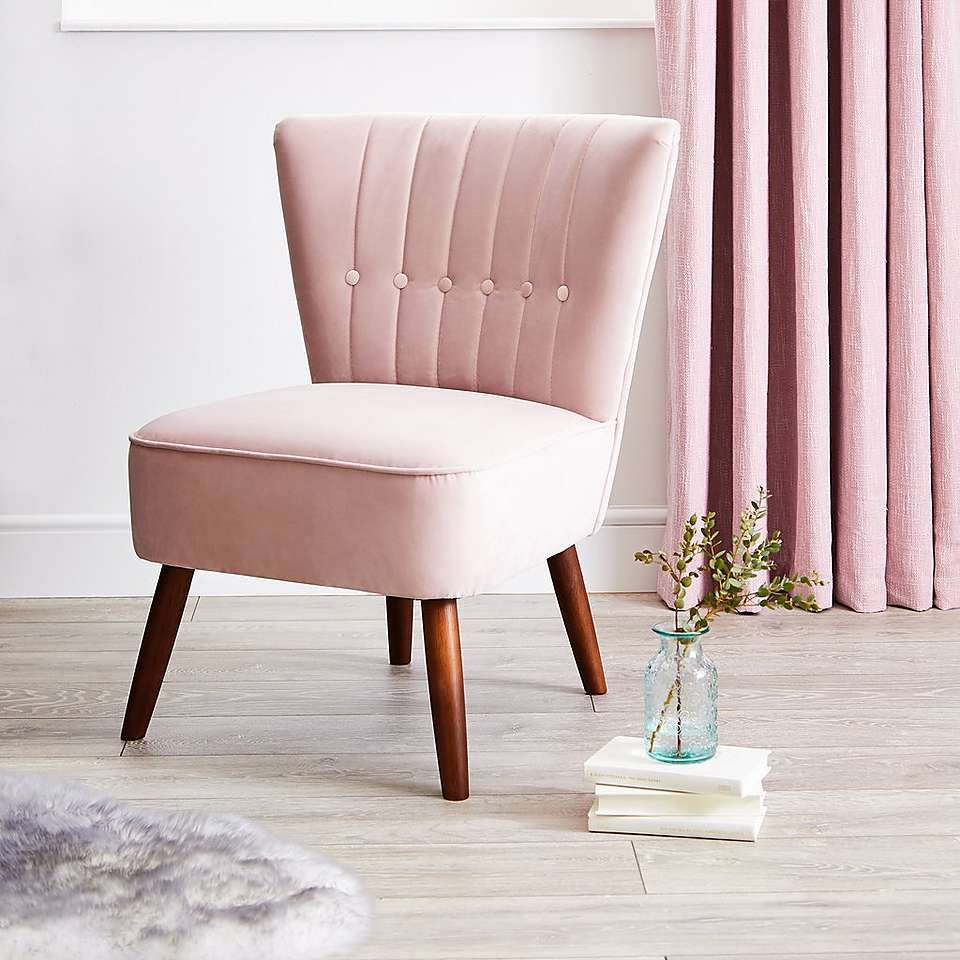 Isla Velvet Cocktail Chair Blush Pink Pink Living In