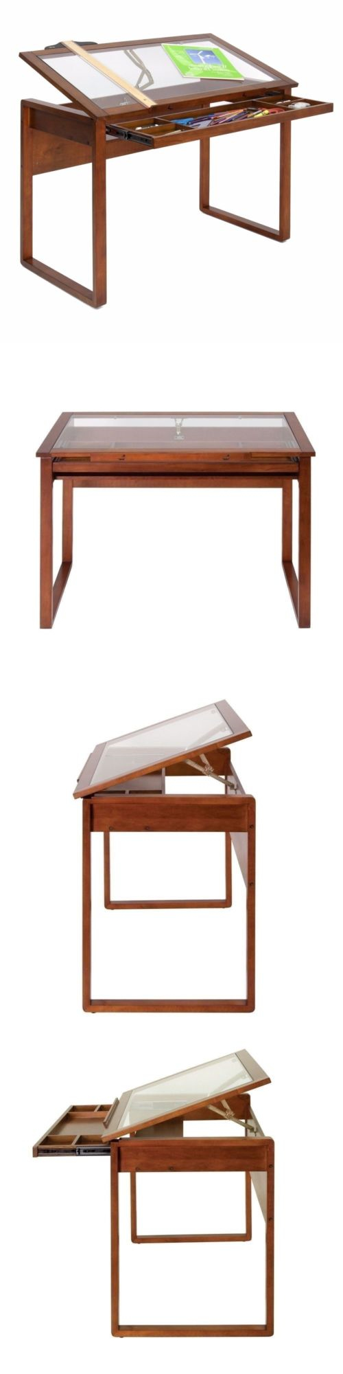 High Quality Drawing Boards And Tables 183083: Ponderosa Drafting Table Adjustable Art  Architect Design Desk Glass Top