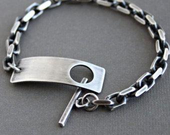 b9b3bce6657e Pulsera de cadena de plata Sterling para hombre por LynnToddDesigns ...