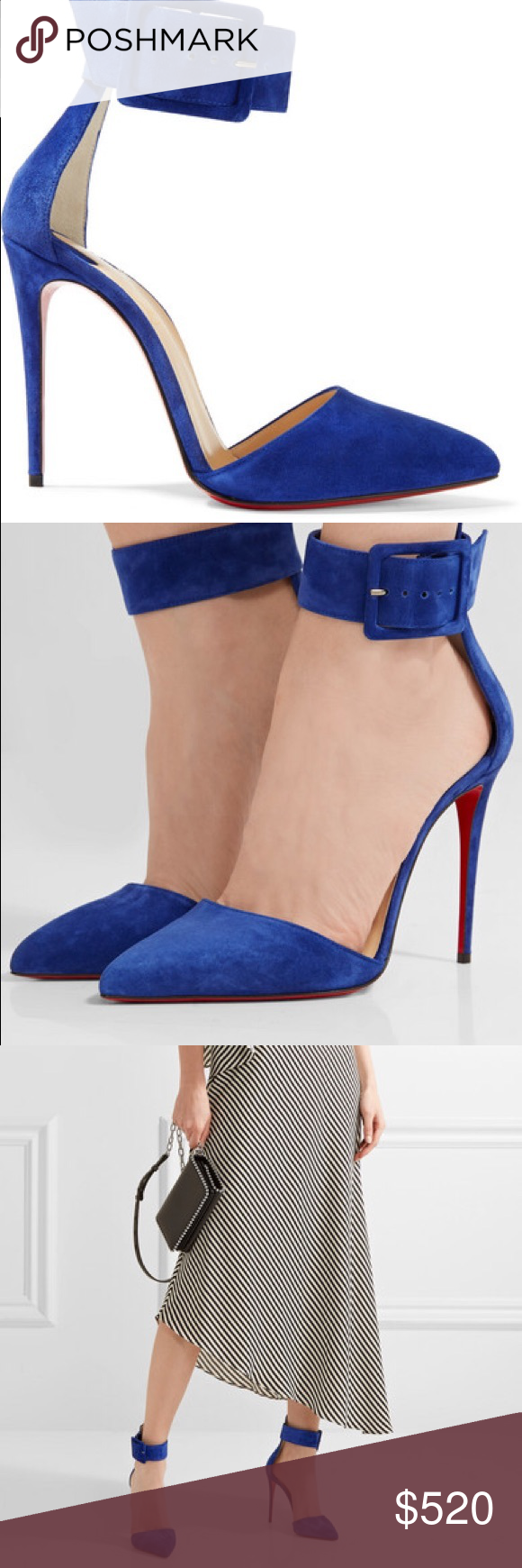 623b57927c6 Christian Louboutin Harler 100 Blue suede pumps with strap. New in box.  Please note
