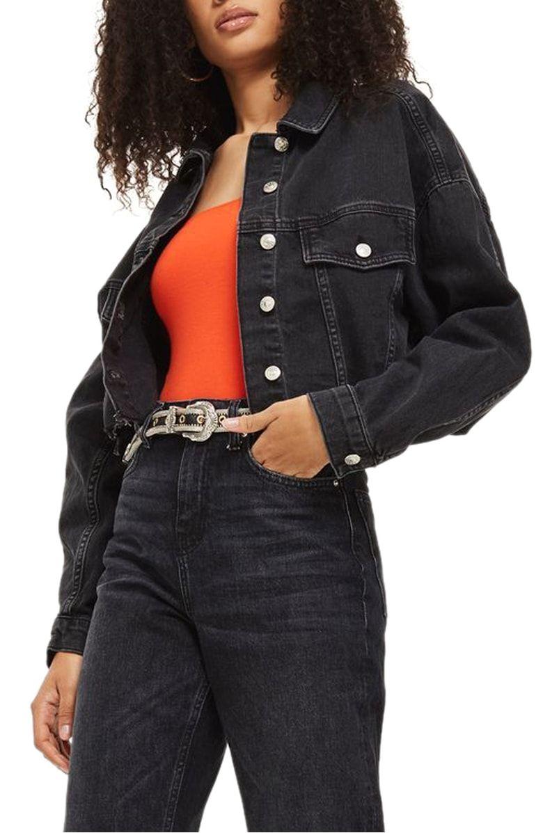 Raw Edge Crop Denim Jacket Main Color Washed Black Nordstorm Cropped Denim Jacket Jackets Denim