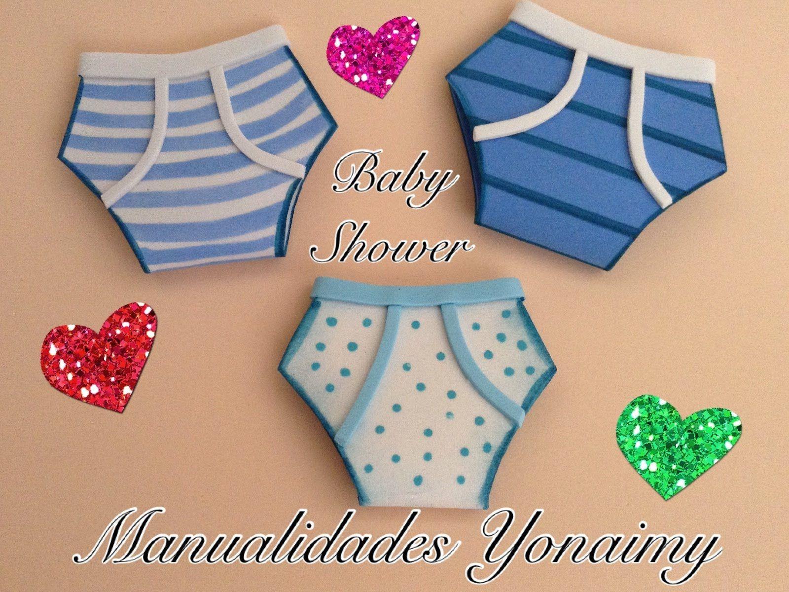 calzoncitos de nio para baby shower hechos con foamy o goma eva