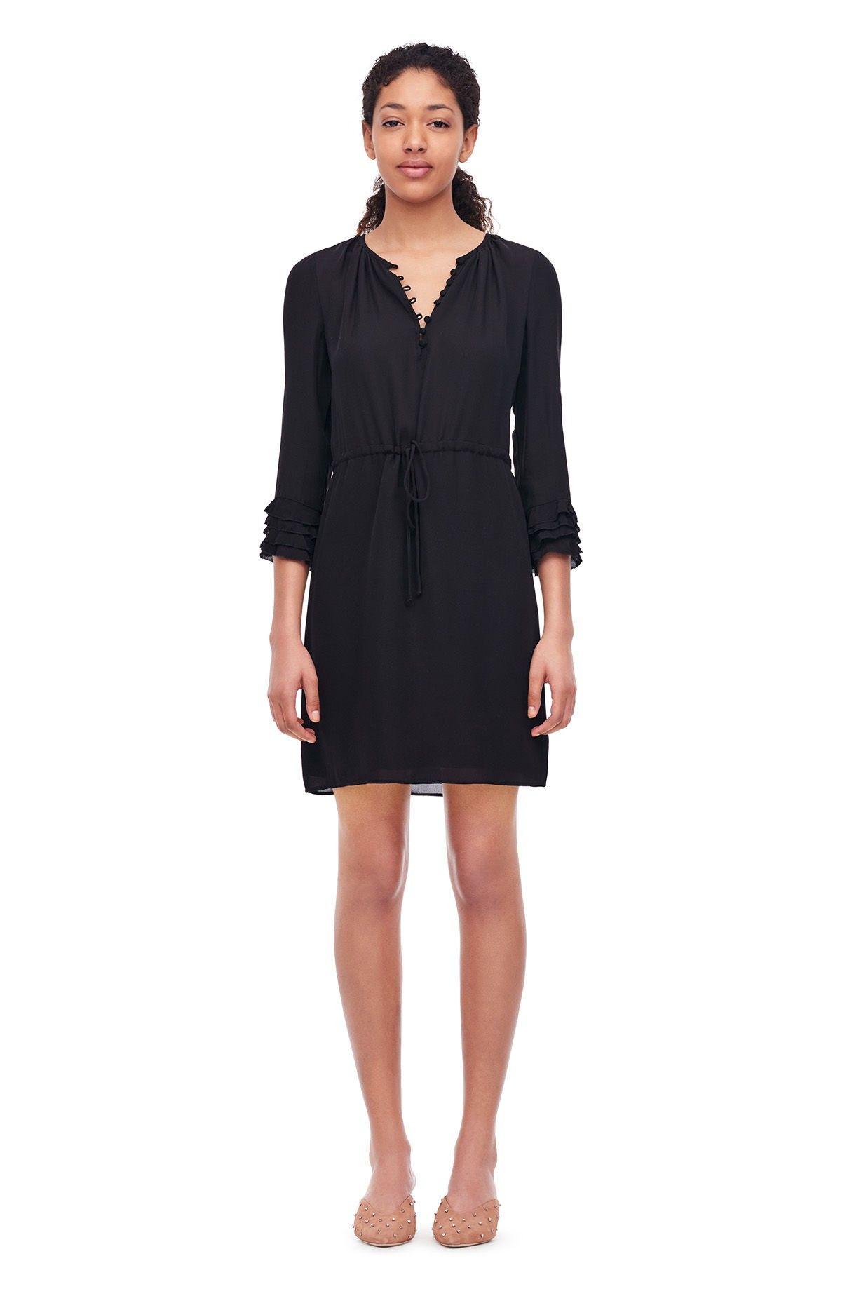 9b95e9fa776a Rebecca Taylor Silk Double Georgette Shirtdress - Black 0 | Products ...
