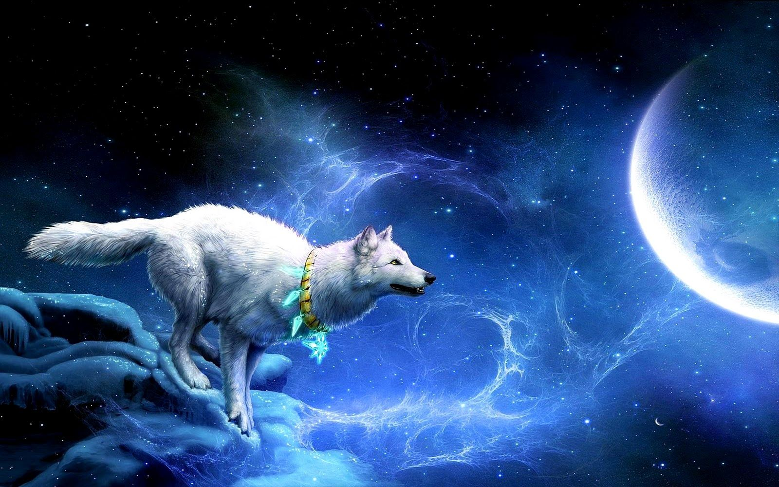 Fox Moon Wolf Wallpaper Fantasy Wolf Mystical Animals