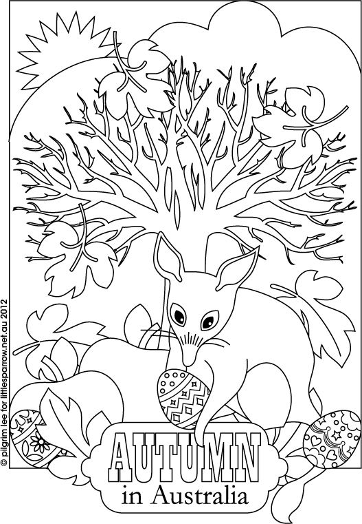Australian autumn coloring sheet with the Easter Bilby