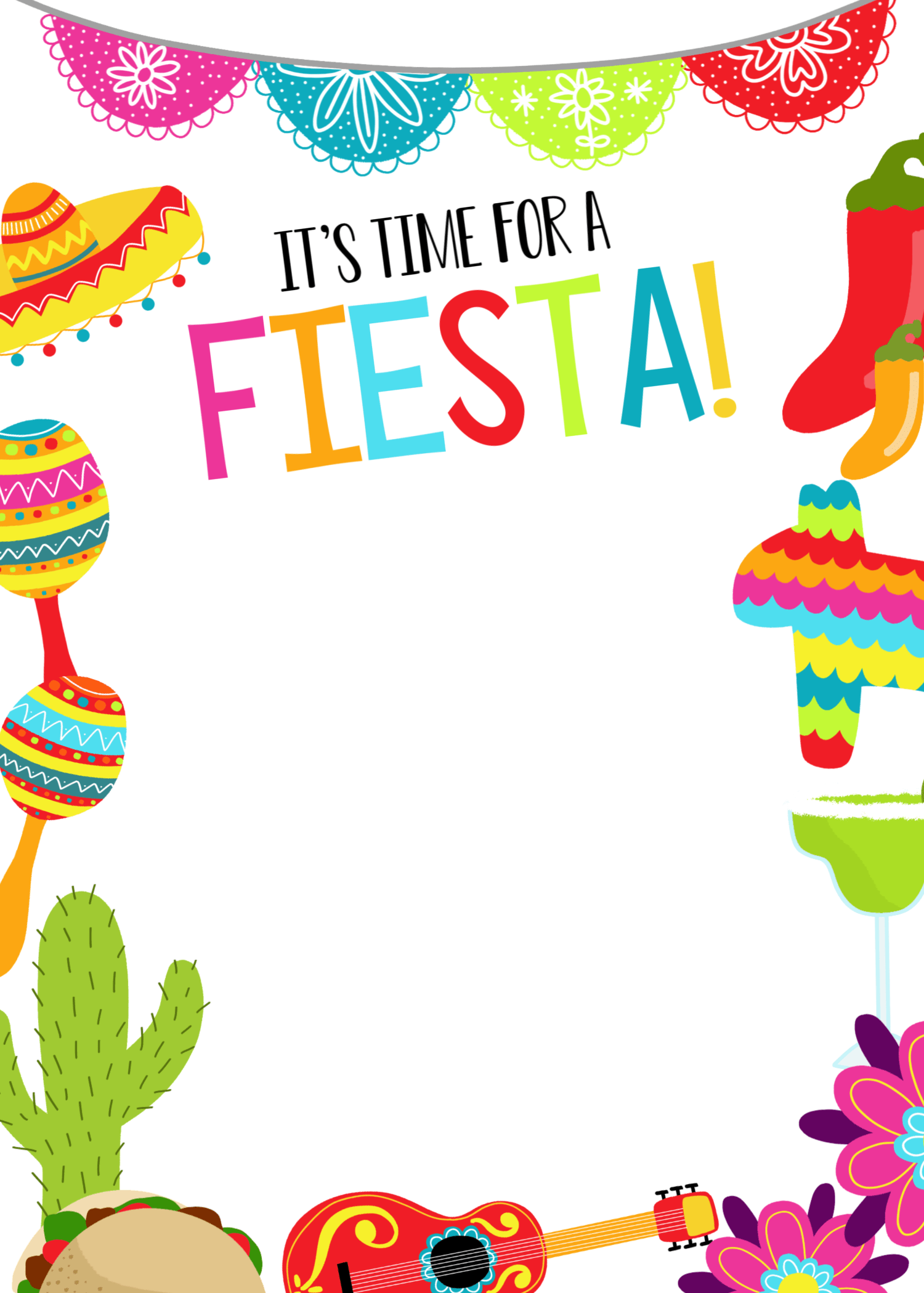 Fiesta Party Invitations Mexican Party Invitation Mexican Party Theme Party Invite Template