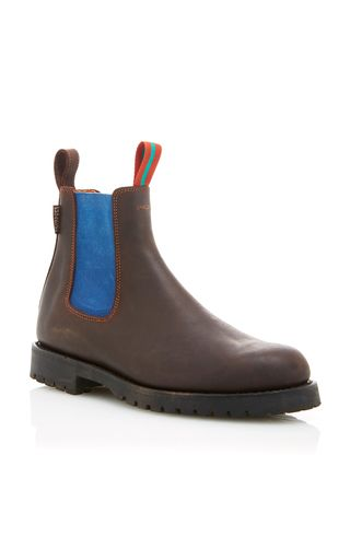 This **Penelope Chilvers** Nelson Boot is rendered in leather and features a contrasting neon elastic trim and classic Chelsea boot shape.