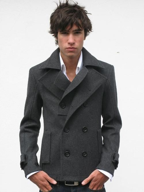 Men's Grey Pea Coat, White Dress Shirt, Navy Jeans, Black Leather ...