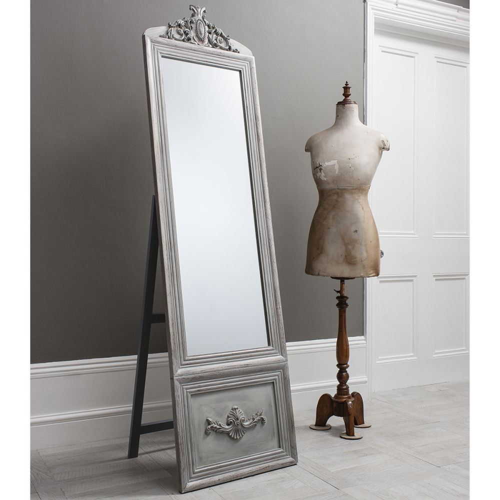 Gallery Direct Belvedere Vintage Cheval Mirror - Silver | Cheval ...