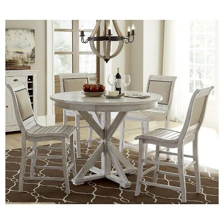 Willow Round Counter Dining Table  Distressed White  Rounding Awesome Willow Dining Room Inspiration