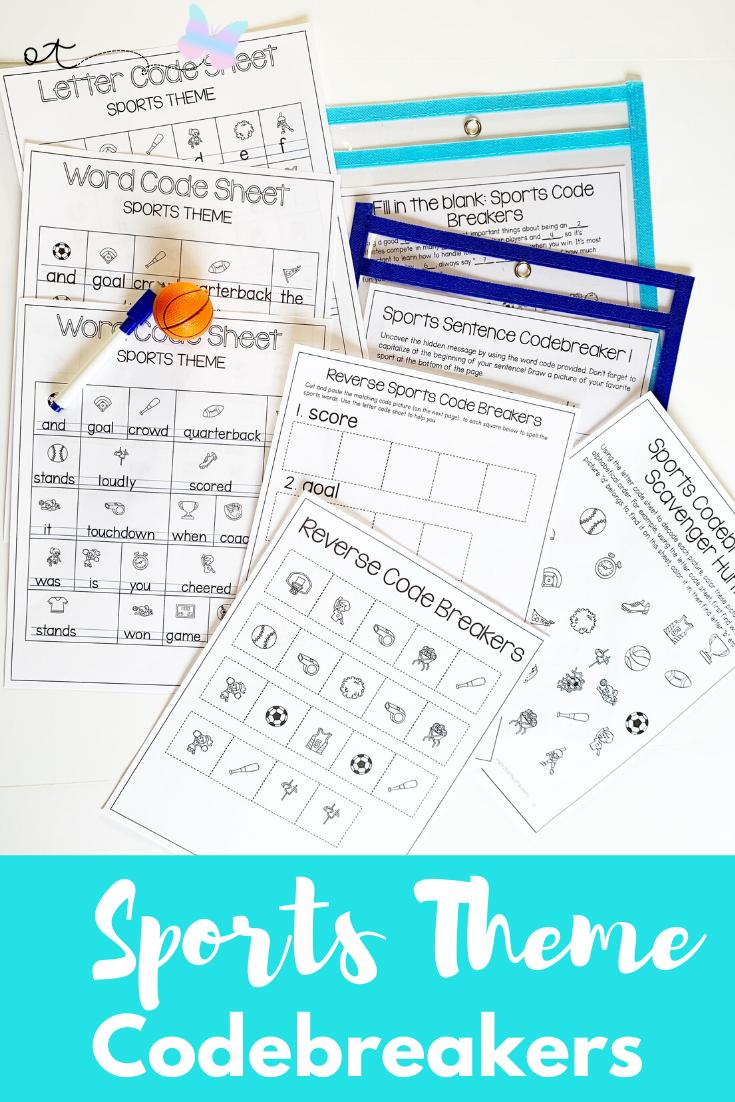 Cryptogram Code Breakers Worksheets Sports Theme No Prep Handwriting Activities Visual Perceptual Activities Coordination Activities [ 1102 x 735 Pixel ]