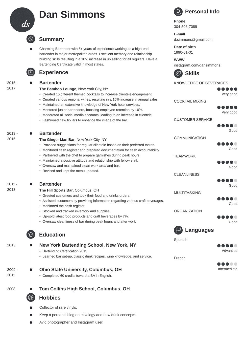 Bartender Resume Template Primo Resume Examples Job Resume Examples Resume Template