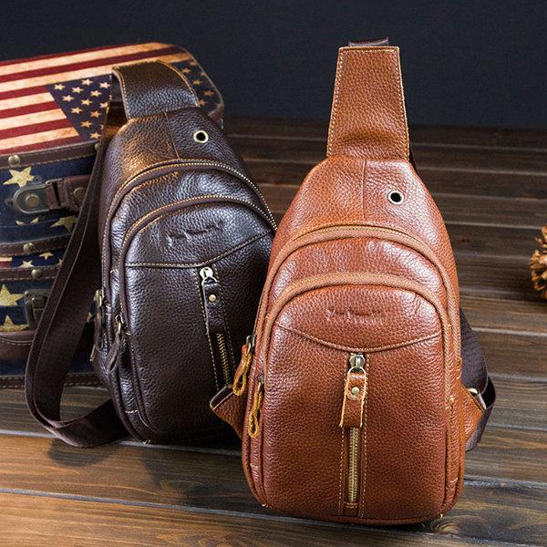 faa52c58fae8 Cowhide Genuine Leather Vintage Chest Bag Solid Sling Bag Leisure ...