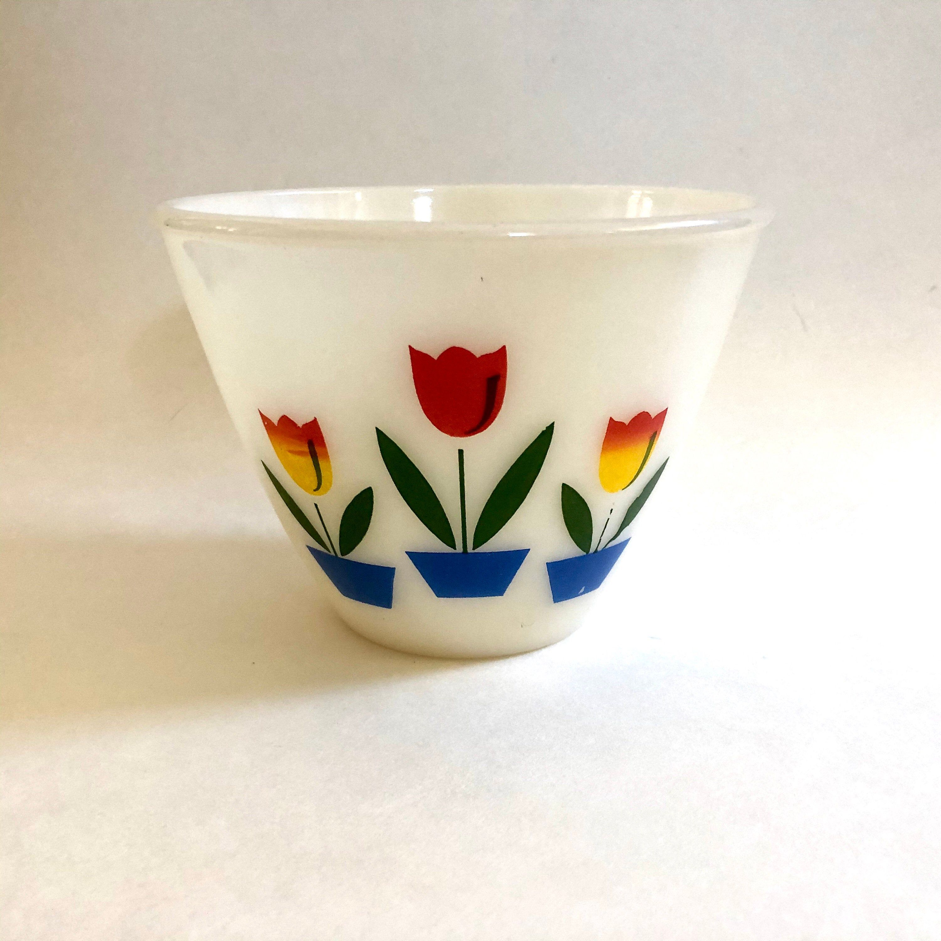 "Excited to share this item from my #etsy shop: Fire-King Oven Ware Small Tulip Bowl 4"" Tall 5.7"" Diameter Mixing Nesting Splashproof #glass #gift #baking #milkglass #fireking #floral #flowers"