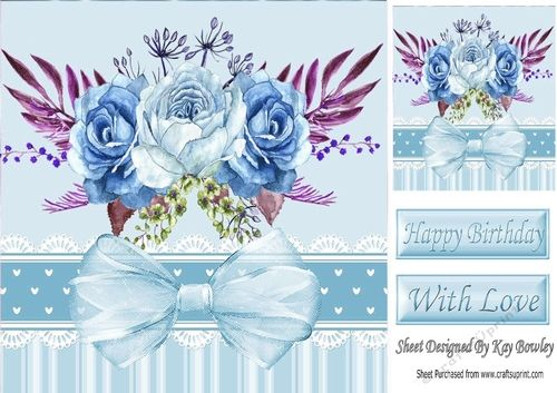 Pretty blue painted roses with organza bow in ornate frame 8x8 on Craftsuprint…