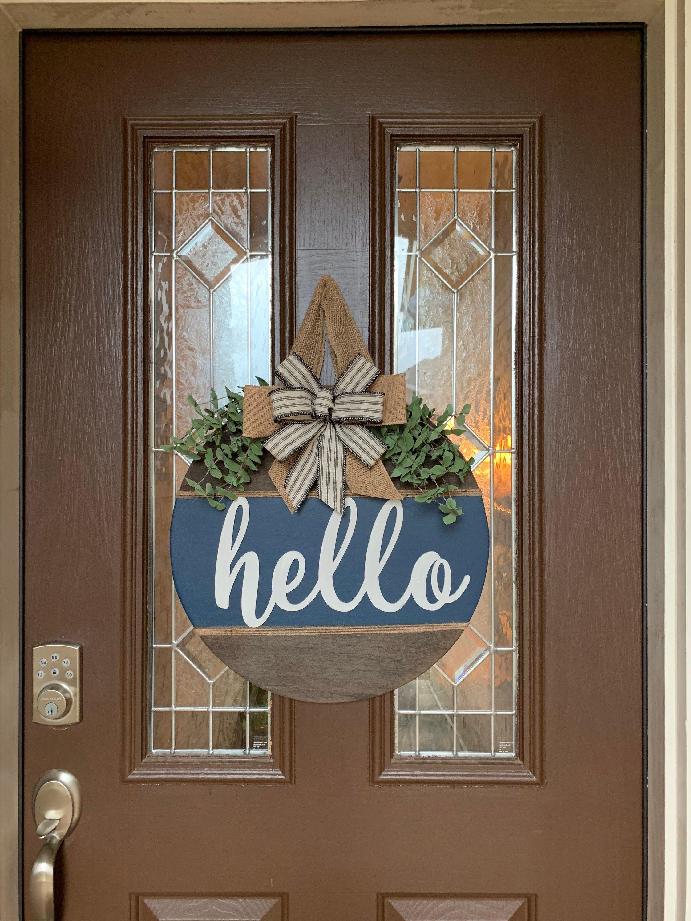 Navy Farmhouse Style Door Sign Hello Farmhouse Door Hanger Etsy In 2020 Door Signs Diy Wooden Door Signs Painted Front Doors