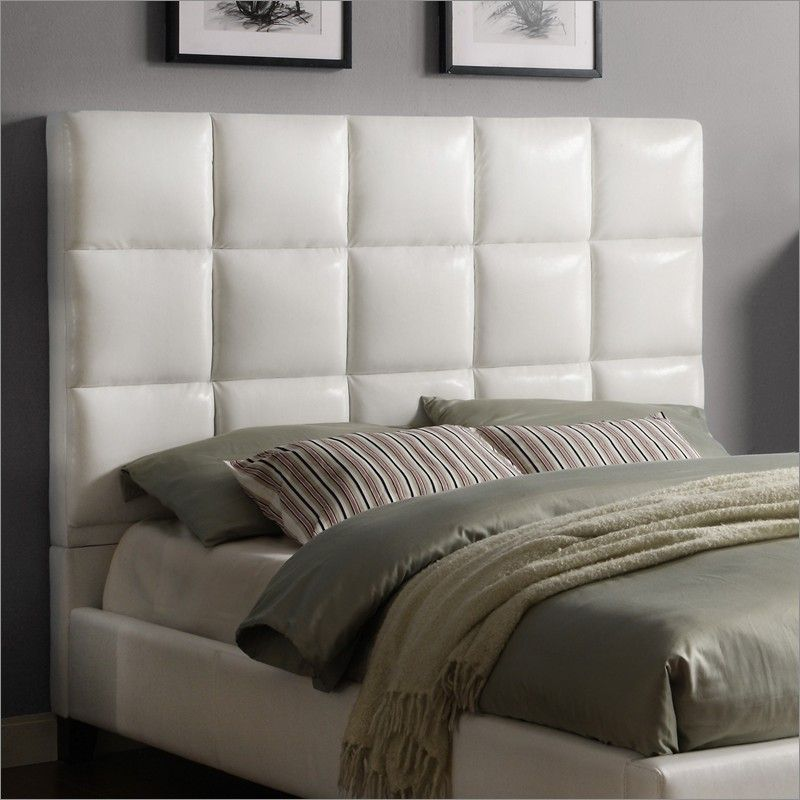 Homelegance Fenton Headboard In White Faux Leather