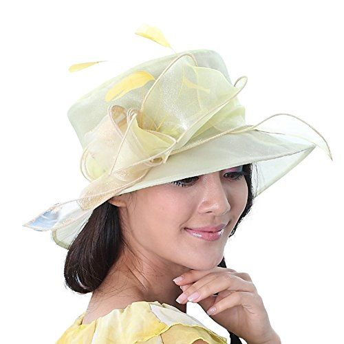13103ba12d375 June s young new sun block organza hat wide brim small tea party hat  (yellow)