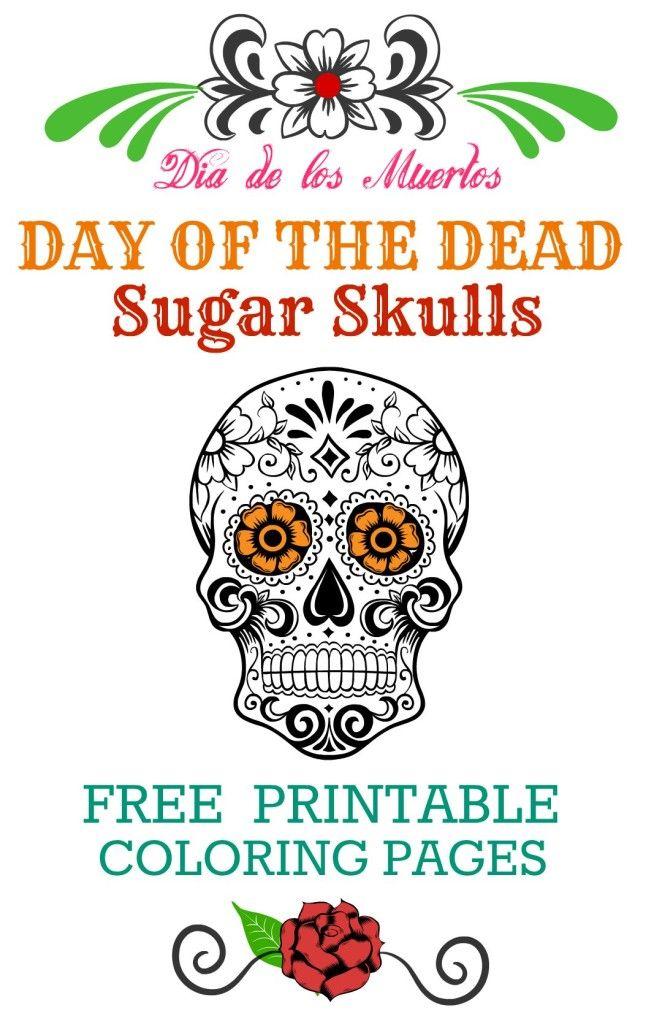 Day of the Dead FREE Printable Coloring Pages Dia de los Muertos ...