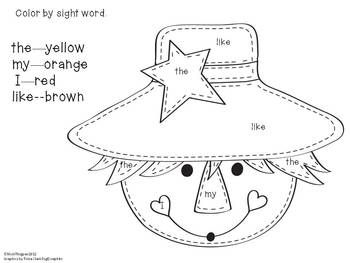 free ScarecrowSight Word Color