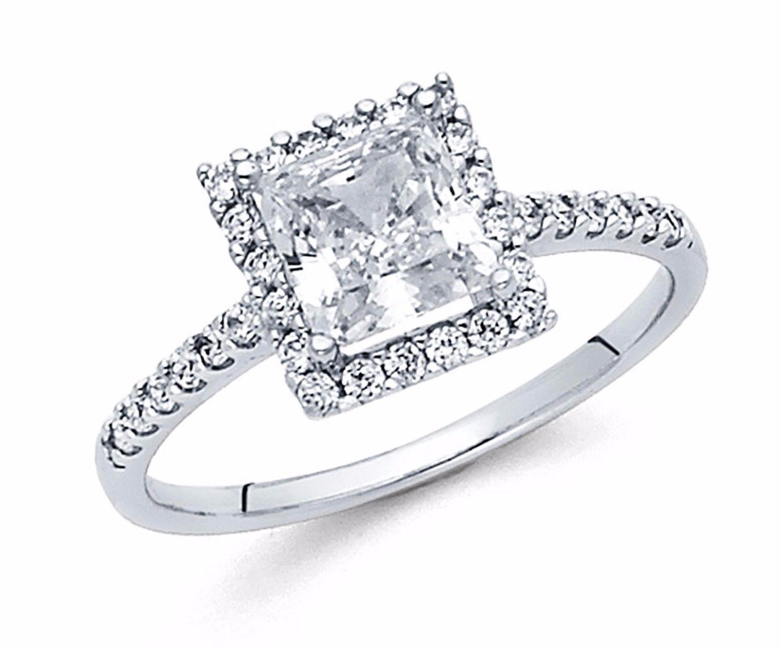 ct k solid white gold princess cut diamond solitaire