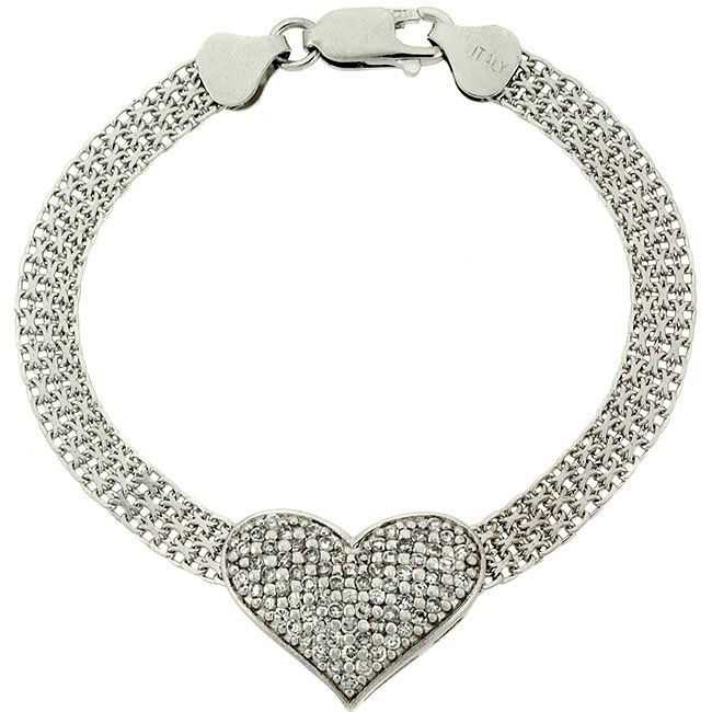 Sterling silver bracelet features a dazzling heart decorated in cubic zirconia, suspended on each side with a mesh chain.