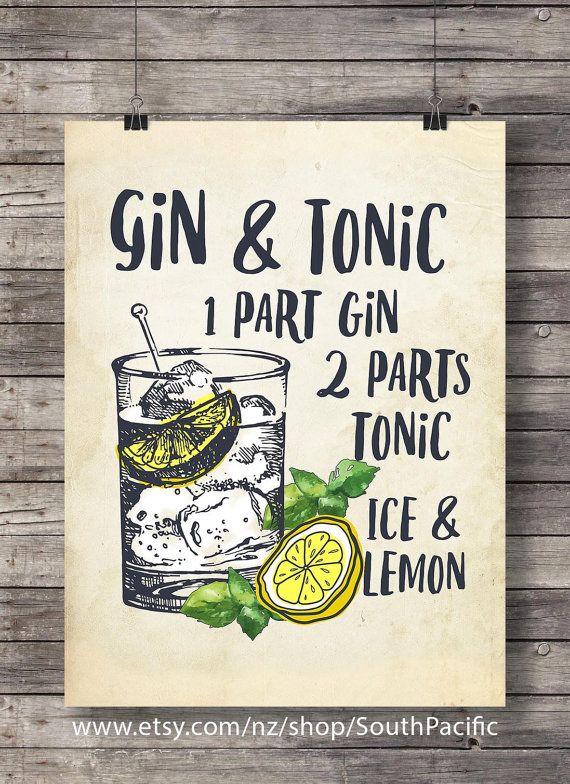 gin and tonic mit zitrone druckbare cocktail illustration. Black Bedroom Furniture Sets. Home Design Ideas
