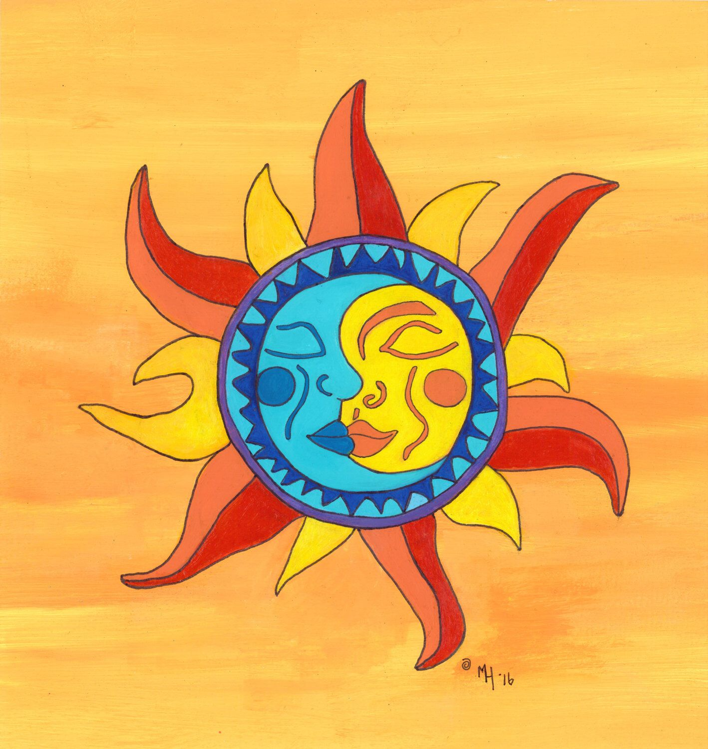 Sun and Moon Wall Art, Mexican Folk Art, Bright, Orange, Blue, Red ...