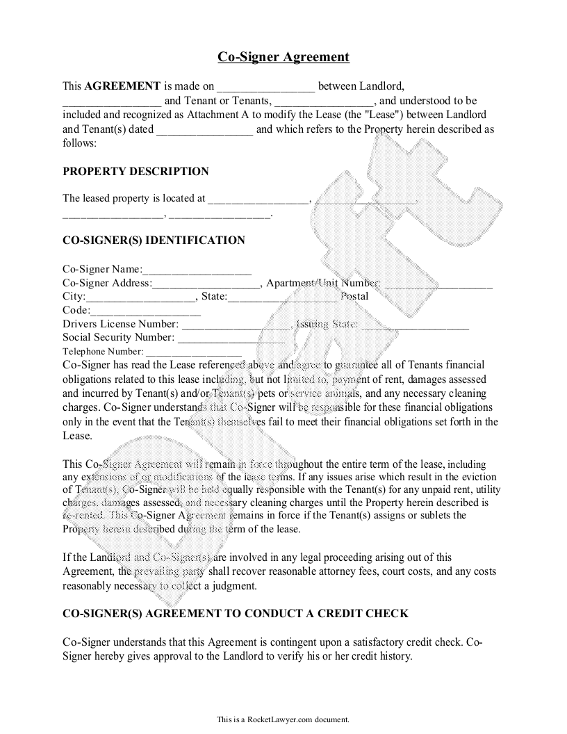 Co Signer Agreement Rental Lease Cosigner With Sample