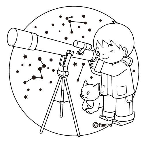 Telescope Free Coloring Pages Space Coloring Pages Coloring