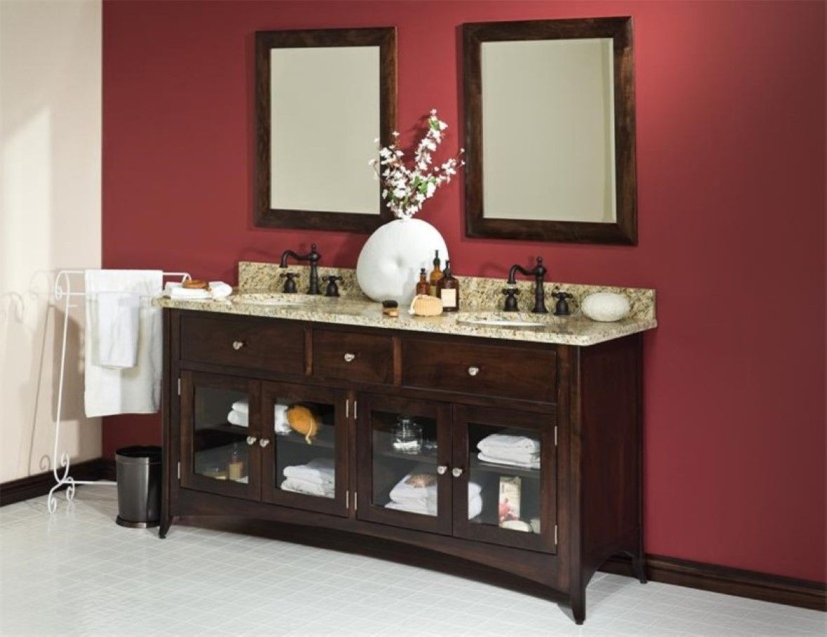 Burgundy Accent Wall Idea And Traditional Bathroom Vanity Cabinet With Glass Door Feat Wrought Iron Towel