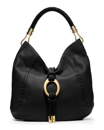 500ffc11a5c7 Michael Kors Collection Skorpios Black Hobo Gold Ring Leather Bag Handbag  Purse  Handbag  MichaelKors